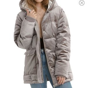 Avec Les Filles Velvet Puffer Coat